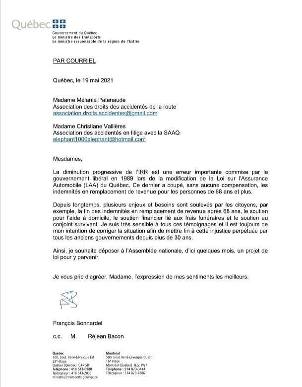 Lettre du ministre Bonnardel