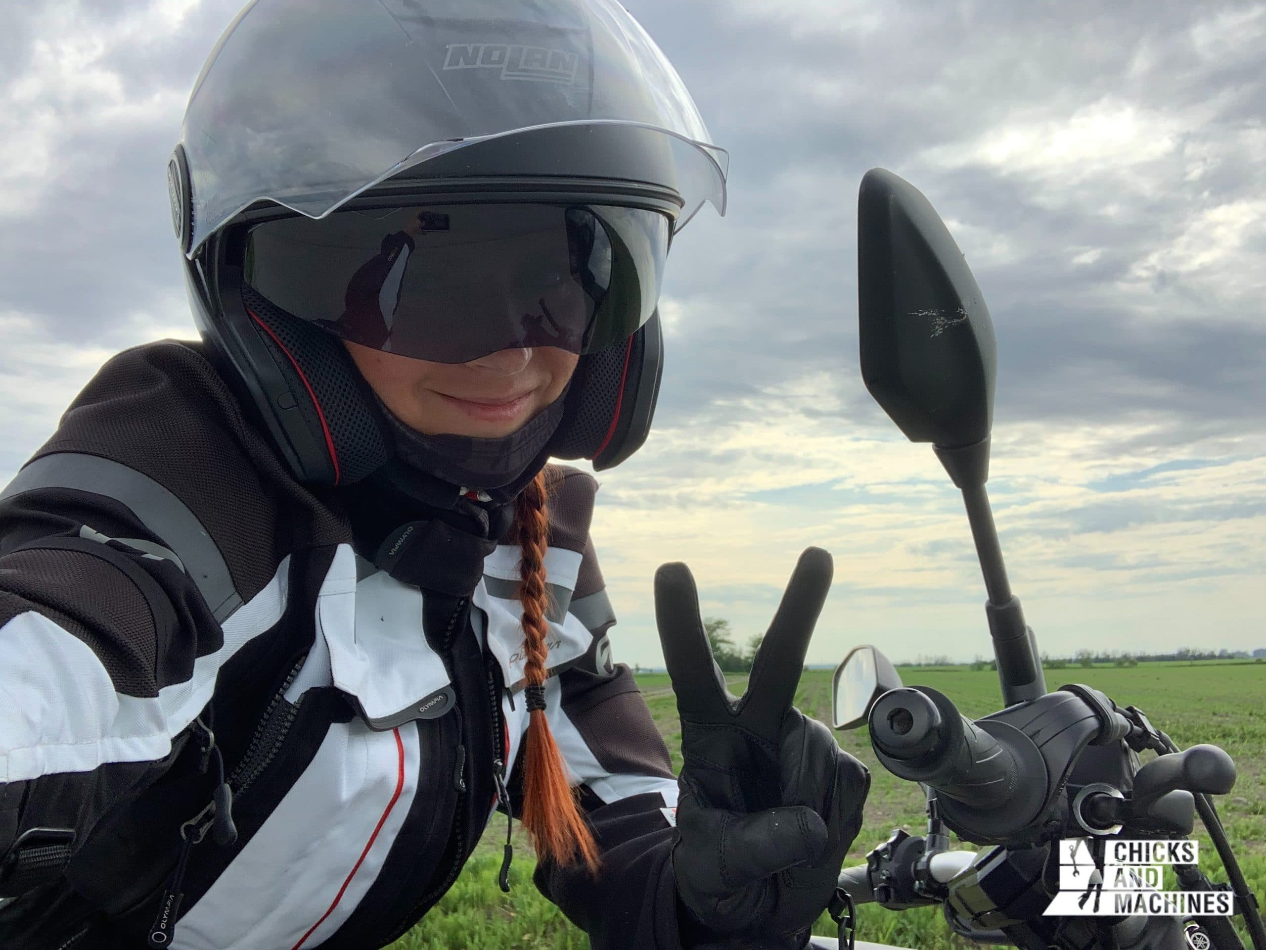 Caro with her modular helmet trying the 2021 Yamaha MT-07