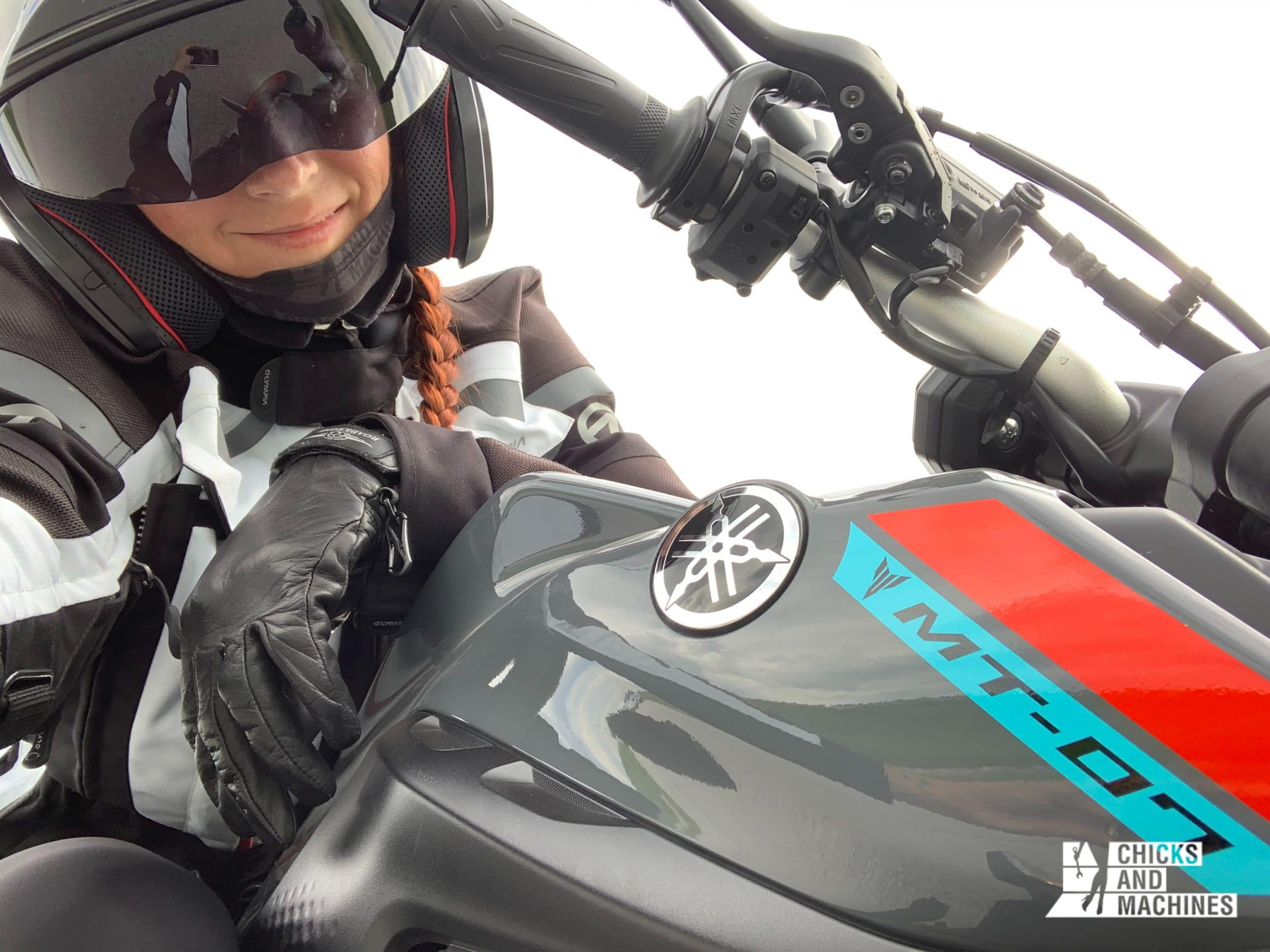 Caro while her road test with the 2021 Yamaha MT-07