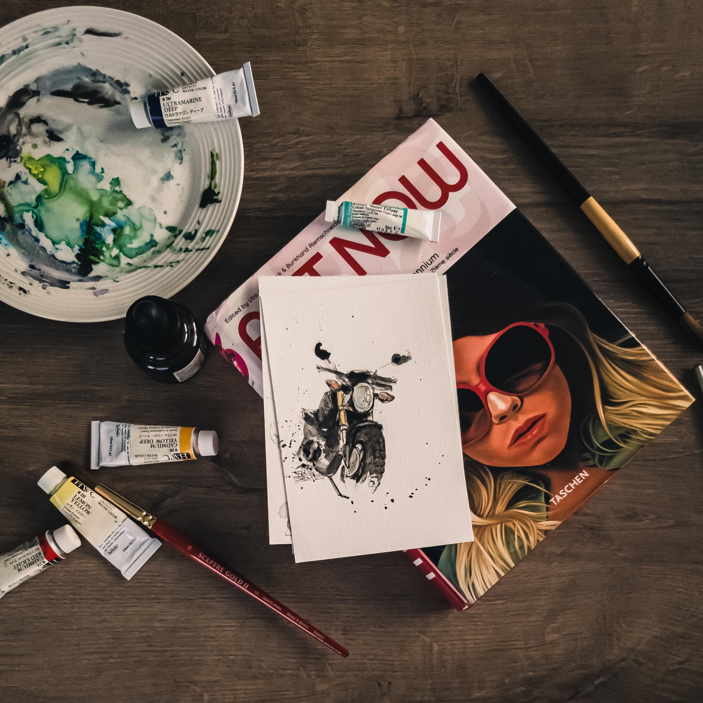 Illustration à l'aquarelle de la première moto de Marie-Pier. Crédit photo : Marie-Pier Martineau