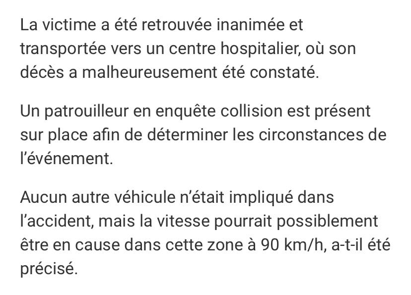 Triste article annonçant le décès d'un motocycliste. Source: https://www.journaldemontreal.com/2021/07/03/un-motocycliste-perd-la-vie-a-saint-tite