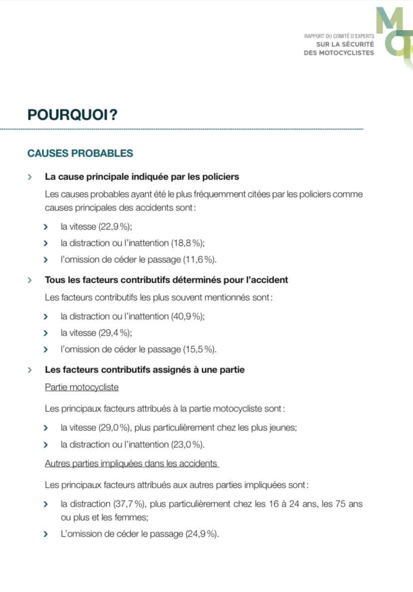 Les causes probables de décès sur nos routes. Source: https://saaq.gouv.qc.ca/fileadmin/documents/publications/rapport-comite-securite-moto.pdf