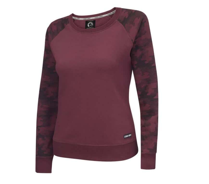 The Ladie's Crewneck Sweatshirt in burgundy. Source: https://can-am-shop.brp.com/on-road/ca/en/454504-ladies-crewneck-sweatshirt.html.html