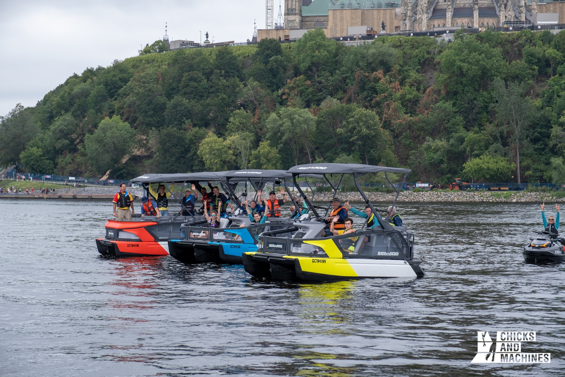Bright colors and transparent canvas give the 2022 Sea-Doo Switch pontoons an unusual look
