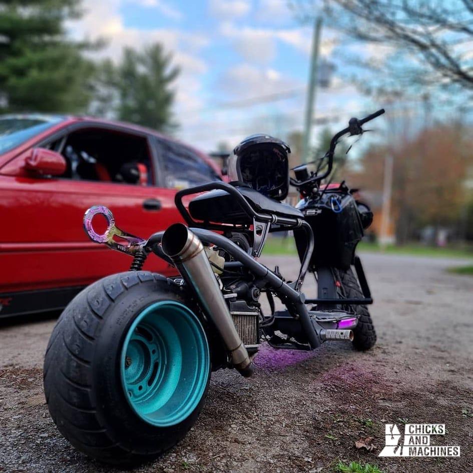 Cyndie's modified Honda Ruckus, a look to turn heads!